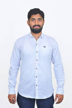 White printed cotton poplin casual shirt