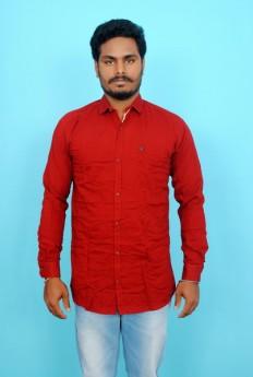 Maroon slim fit cotton linen casual shirt