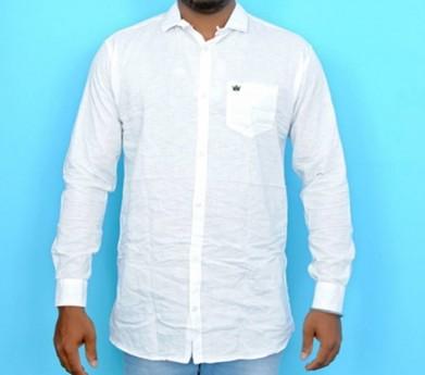 Slim Fit Cotton Linen Shirt [White]