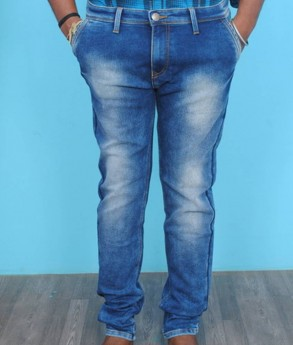 Men's light blue faded stretchable jeans