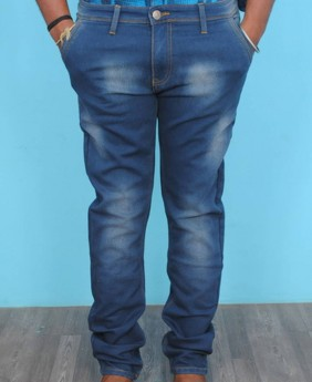 Men's dark blue faded stretchable jeans