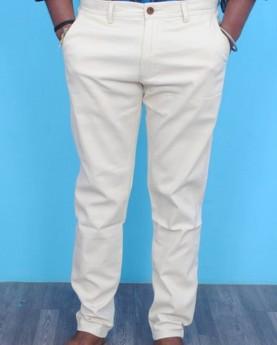 Men's cream cotton casual pants/formal trouser