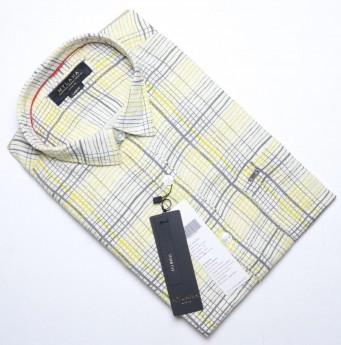 Men's yellow grey checks casual shirts
