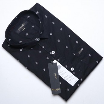Men's black and white printed casual shirts