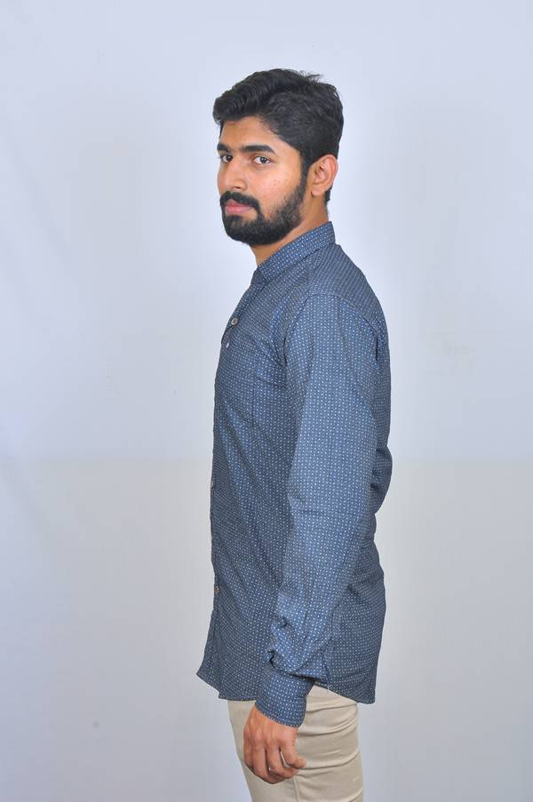 Black printed cotton poplin casual shirt