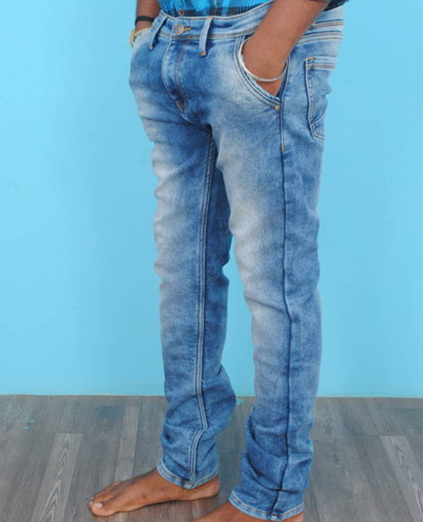 Men's sky blue faded stretchable jeans