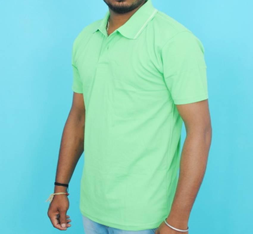 Half Sleeve Polo Collar Casual T-Shirt (Light green colour Tee)