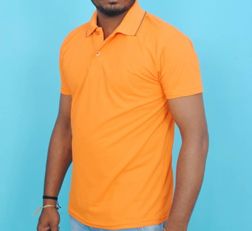Half Sleeve Polo Collar Casual T-Shirt (Orange colour Tee)