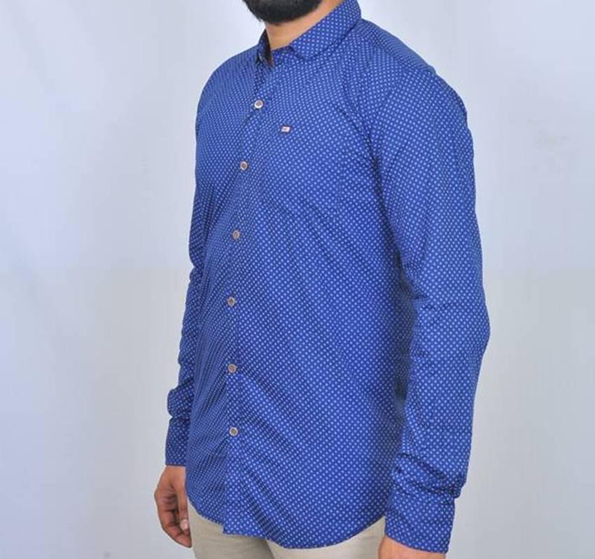 Navy Blue Printed Cotton Poplin Casual Shirt